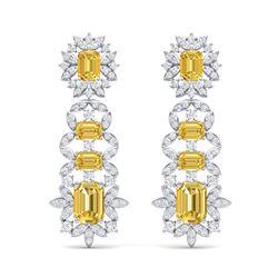 27.75 ctw Canary Citrine & VS Diamond Earrings 18K White Gold