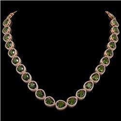 41.6 ctw Tourmaline & Diamond Micro Pave Halo Necklace 10K Rose Gold