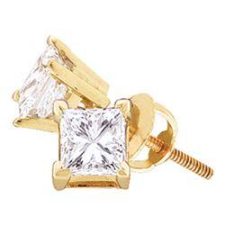 14kt Yellow Gold Unisex Princess Diamond Solitaire Stud Earrings 1/4 Cttw