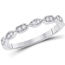 14kt White Gold Round Diamond Geometric Stackable Band Ring 1/10 Cttw