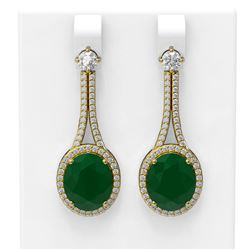 15.53 ctw Emerald & Diamond Earrings 18K Yellow Gold