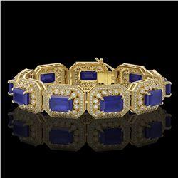 61.92 ctw Sapphire & Diamond Victorian Bracelet 14K Yellow Gold