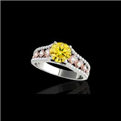 1.45 ctw Certified SI Intense Yellow Diamond Solitaire Ring 10K White & Rose Gold