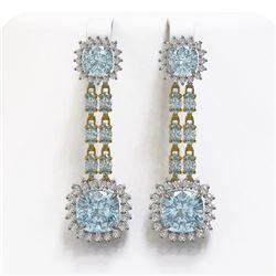 19.64 ctw Sky Topaz & Diamond Earrings 14K Yellow Gold
