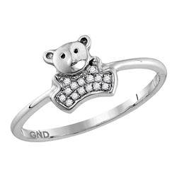 10kt White Gold Round Diamond Teddy Bear Cluster Ring 1/20 Cttw