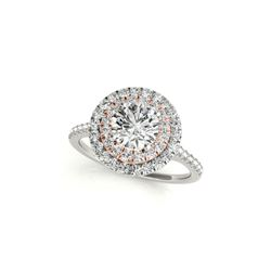 1.25 ctw Certified VS/SI Diamond Solitaire Halo Ring 18K White & Rose Gold