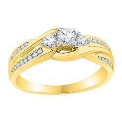 10k Yellow Gold Round 3-stone Diamond Bridal Wedding Engagement Ring 1/2 Cttw