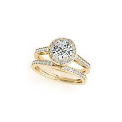 1.45 ctw Certified VS/SI Diamond 2pc Wedding Set Halo 14K Yellow Gold