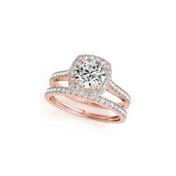 1.67 ctw Certified VS/SI Diamond 2pc Wedding Set Halo 14K Rose Gold