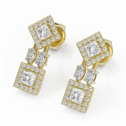 2.16 ctw Princess and Marquise Cut Diamond Earrings 18K Yellow Gold