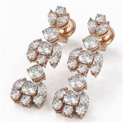 4.82 ctw Cushion and Marquise Cut Diamond Earrings 18K Rose Gold