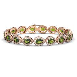 16.93 ctw Tourmaline & Diamond Micro Pave Halo Bracelet 10K Rose Gold