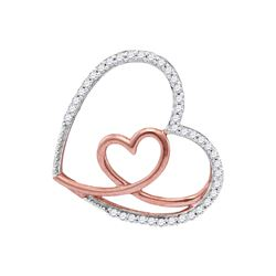 10kt White Gold Round Diamond Rose Nested Heart Pendant 1/8 Cttw