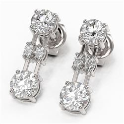 3 ctw Marquise Cut Diamond Designer Earrings 18K White Gold