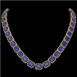 84.94 ctw Sapphire & Diamond Micro Pave Halo Necklace 10K Yellow Gold
