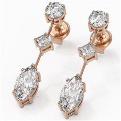2.32 ctw Marquise Cut Diamond Designer Earrings 18K Rose Gold