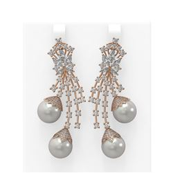 8.06 ctw Diamond and Pearl Earrings 18K Rose Gold