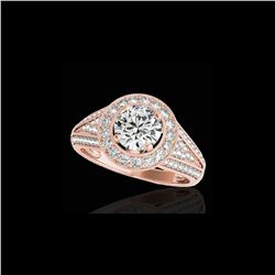 2.17 ctw Certified Diamond Solitaire Halo Ring 10K Rose Gold