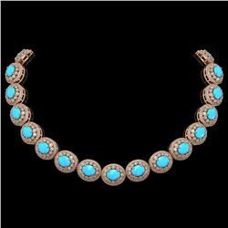 86.75 ctw Turquoise & Diamond Victorian Necklace 14K Rose Gold