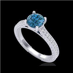 1.45 ctw Fancy Intense Blue Diamond Art Deco Ring 18K White Gold