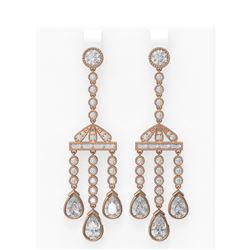 7.01 ctw Diamond Earrings 18K Rose Gold