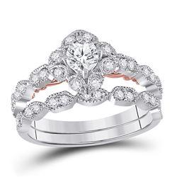 14kt Two-tone Gold Round Diamond Bridal Wedding Engagement Ring Band Set 3/4 Cttw