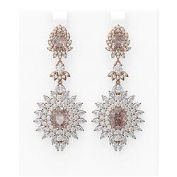 18.85 ctw Morganite & Diamond Earrings 18K Rose Gold