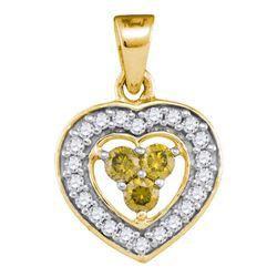 10kt Yellow Gold Round Yellow Color Enhanced Diamond Heart Frame Pendant 1/3 Cttw