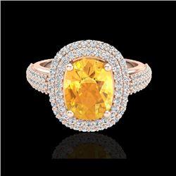 3.50 ctw Citrine & Micro Pave VS/SI Diamond Ring 14K Rose Gold