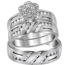 14kt White Gold His & Hers Round Diamond Cluster Matching Bridal Wedding Ring Band Set 3/4 Cttw