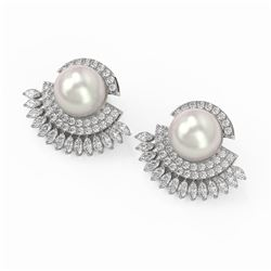 5.76 ctw Marquise Diamond and Pearl Earrings 18K White Gold