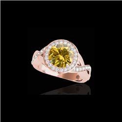 2 ctw Certified SI/I Fancy Intense Yellow Diamond Halo Ring 10K Rose Gold