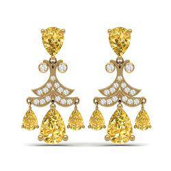 10.41 ctw Canary Citrine & VS Diamond Earrings 18K Yellow Gold