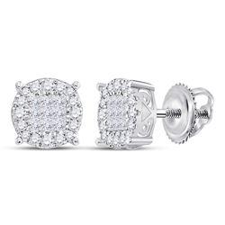 14kt White Gold Princess Diamond Fashion Cluster Earrings 1/4 Cttw