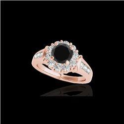 1.9 ctw Certified VS Black Diamond Solitaire Halo Ring 10K Rose Gold