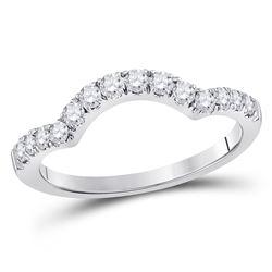 14kt White Gold Round Diamond Wrap Ring Guard Enhancer 1/2 Cttw