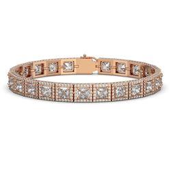 18.24 ctw Princess Cut Diamond Micro Pave Bracelet 18K Rose Gold