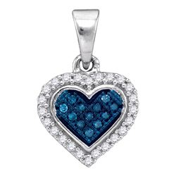 10kt White Gold Round Blue Color Enhanced Diamond Cluster Small Heart Pendant 1/8 Cttw