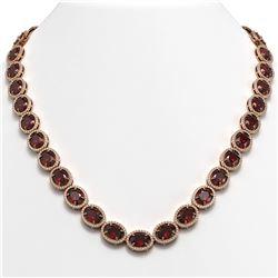 62.99 ctw Garnet & Diamond Micro Pave Halo Necklace 10K Rose Gold