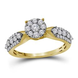 10kt Yellow Gold Round Diamond Cluster Bridal Wedding Engagement Ring 5/8 Cttw