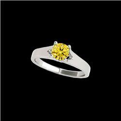 1 ctw Certified SI/I Fancy Intense Yellow Diamond Ring 10K White Gold