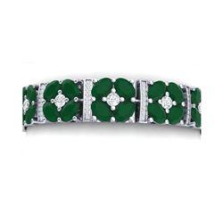 48.04 ctw Emerald & VS Diamond Bracelet 18K White Gold