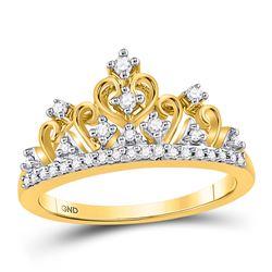 10kt Yellow Gold Round Diamond Tiara Crown Band Ring 1/5 Cttw