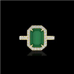 5.33 ctw Emerald And Micro Pave VS/SI Diamond Ring 18K Yellow Gold