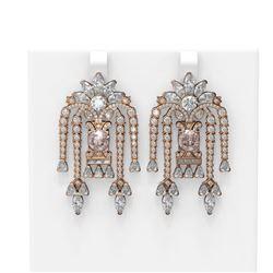 15.33 ctw Morganite & Diamond Earrings 18K Rose Gold