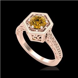 0.77 ctw Intense Fancy Yellow Diamond Art Deco Ring 18K Rose Gold