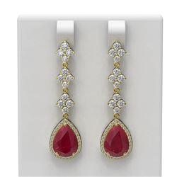 9.82 ctw Ruby & Diamond Earrings 18K Yellow Gold