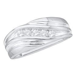 10kt White Gold Mens Round Diamond Wedding Anniversary Band Ring 1/4 Cttw