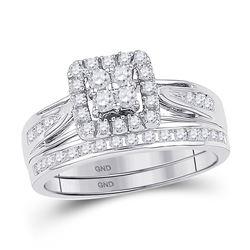 10kt White Gold Round Diamond Square Cluster Bridal Wedding Engagement Ring Band Set 1-1/2 Cttw