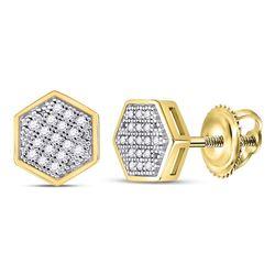 10kt Yellow Gold Mens Round Diamond Hexagon Cluster Stud Earrings 1/10 Cttw